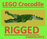 3d lego crocodile rigged model