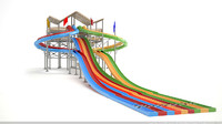water slide octupus 3d max