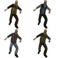 pack rigged zombies 3d model