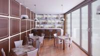 3d model restaurant interior scene