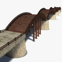 historic kintai bridge 3d max
