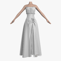 wedding dress 006 female girl 3d obj
