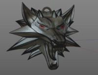 3d model of witcher s wolf medallion