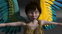 3d fairy bird girl