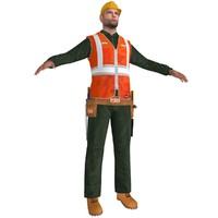 3d worker man