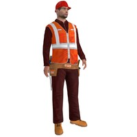 3d rigged worker biped man