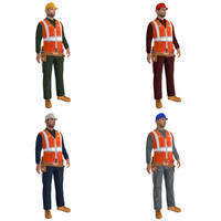 pack rigged worker biped man 3d model