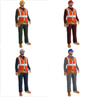 pack rigged worker biped man 3d max