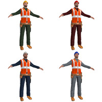 3d pack worker man model