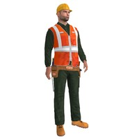 3d rigged worker biped man model