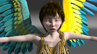 fairy bird girl 3d model