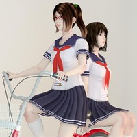 posed 2 japanese girls 3d model