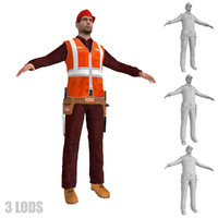 3ds max worker lods man