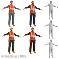 pack worker lods man 3d model