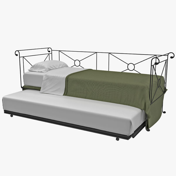 Metal Daybed with Trundle chaise lounge couch bed day truckle trumple hurly hurly-bed cot roll away roll-away vray bedroom interior decor decorative