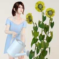 3d posed natsumi blue dress model