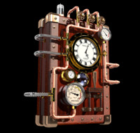 steampunk clock 3d obj