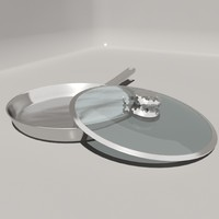 stainless steel frying pan 3d model