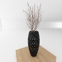3d model vase twig decoration