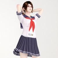 3d model posed natsumi school