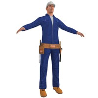 3d model of worker man