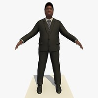 Rigged Black Business Man In a Black Suit