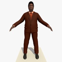 3d african male business man