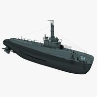 u-boat uss spadefish 3d model