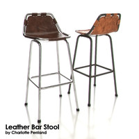 charlotte perriand leather bar stool 3d model