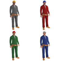 3d pack rigged worker biped man model