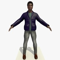 3d african male man blue model