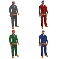 pack rigged worker man 3d model