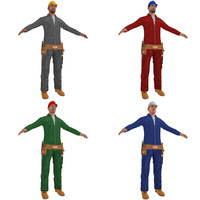 pack worker man 3d model
