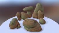 desert rock props 3d obj