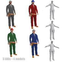 3d pack rigged worker lods model