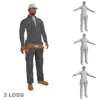 rigged worker lods biped man max