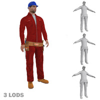 3d model of rigged worker lods biped man