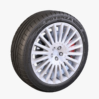 20 spokes wheel bridgestone potenza 3d max