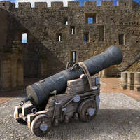 3d british naval cannon model