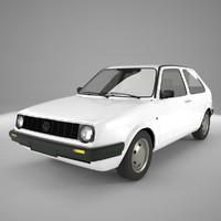 1983 golf mk2 3d model