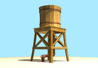 3d wooden water tower