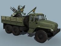 3d anti-aircraft ural-4320 truck aa