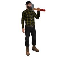 maya rigged lumberjack man