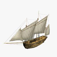 3d lugger ship s