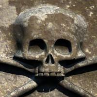 3d c4d carved skull stone