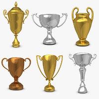 3d model trophy cup set