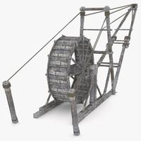 medieval wooden crane 3d model