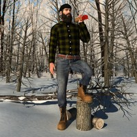 rigged canadian lumberjack man 3d max