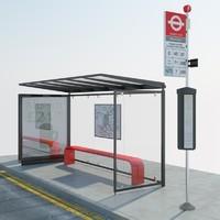 3d london bus stop model