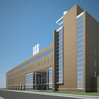 3d modern office industrial building